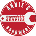 A circular logo with a wrench in the middle from Annie's Dependable Service Hardware in Washington D.C.