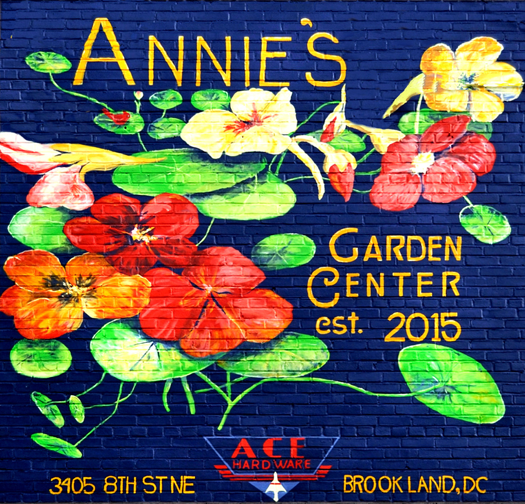 A beautifully painted mural on a brick wall dedicated to Annie's Dependable Service Hardware in Washington D.C.
