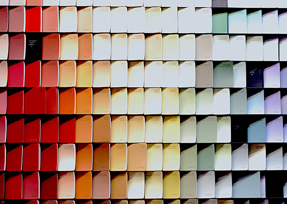 Various different colors of paint on display from Annie's Dependable Service Hardware in Washington D.C.